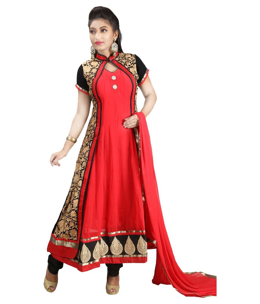 Sharmili Red Pure Georgette Stitched Suit