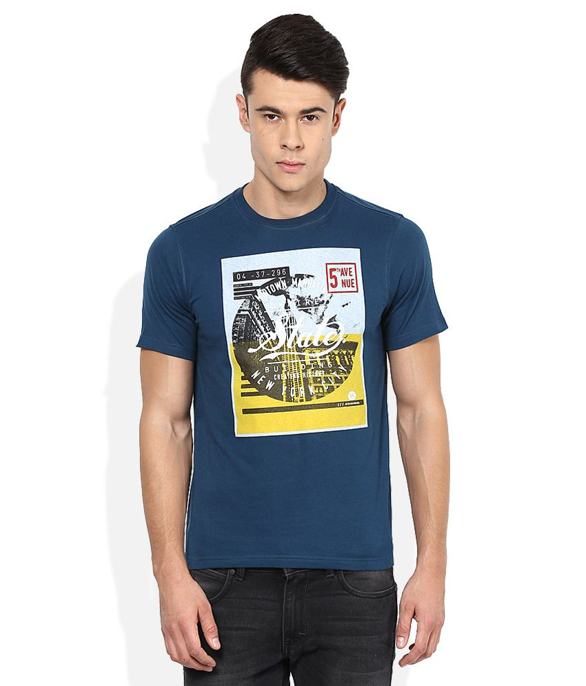 American Swan Blue Round Neck Printed T-Shirt
