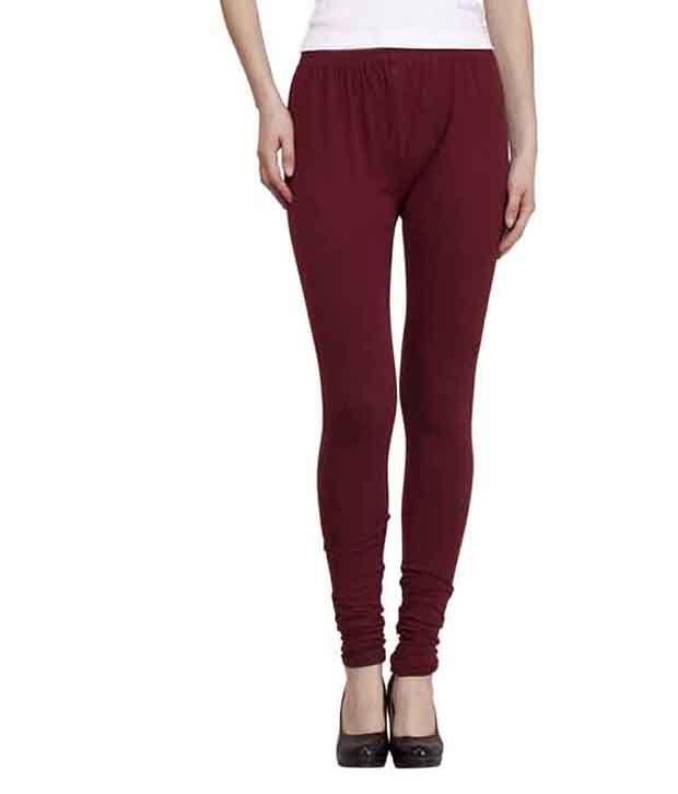 Venustas Cotton Lycra Leggings Of Dark Pink Maroon Dark Green
