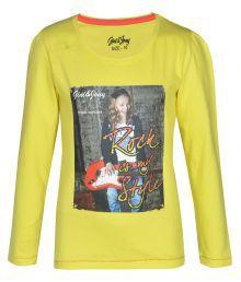 Gini & Jony 100% Cotton Yellow Tops For Kids