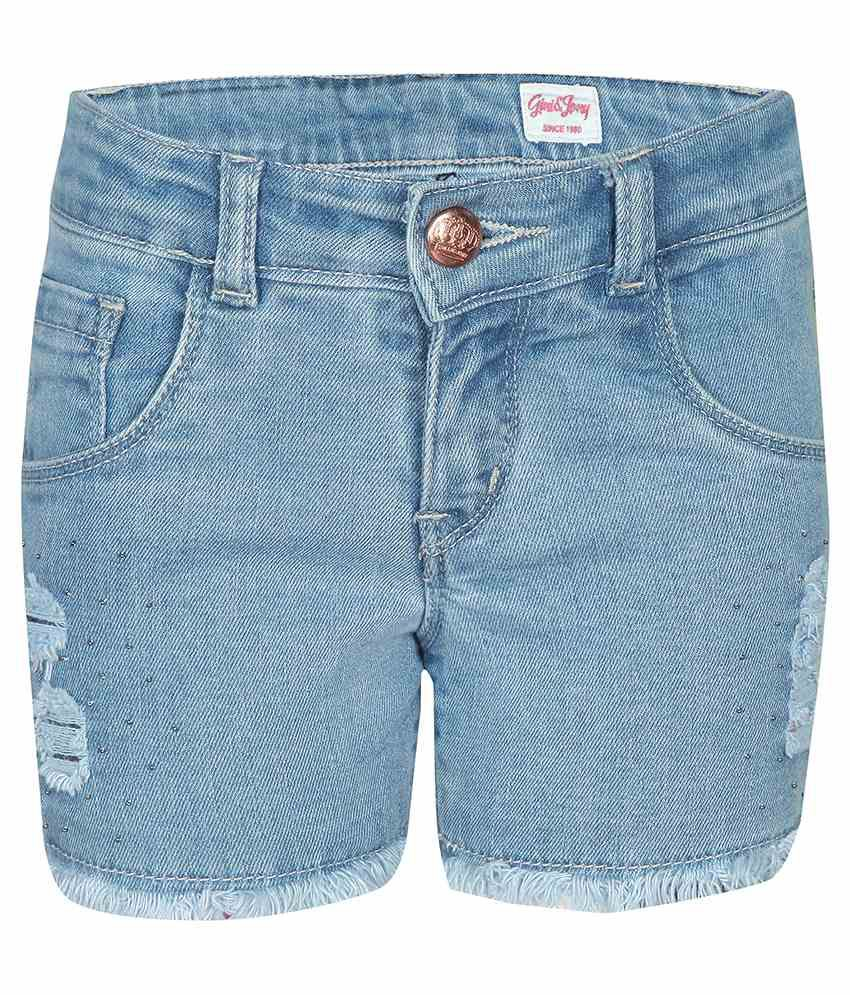 Gini & Jony Cotton Blend Blue SHORTS For Kids