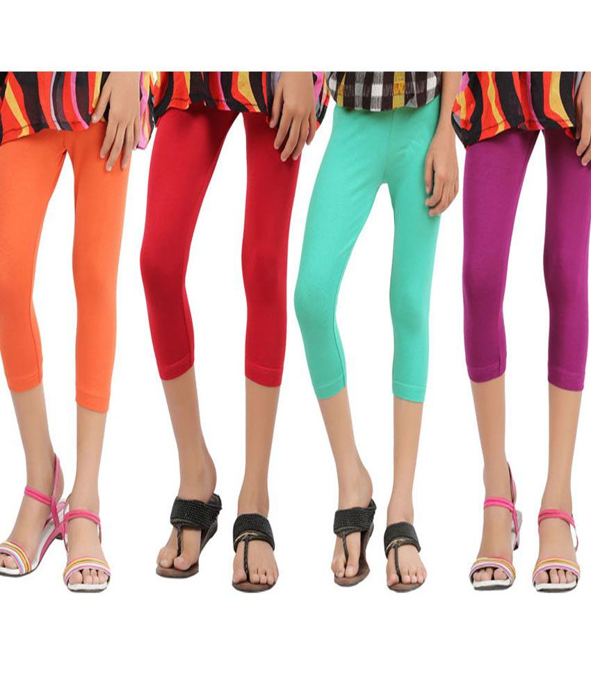 Greenwich Mlticolor Cotton Capri Leggings For Girls