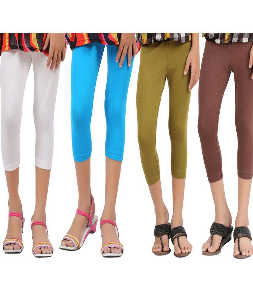 Greenwich Mlticolor Cotton Capri Leggings For Girls