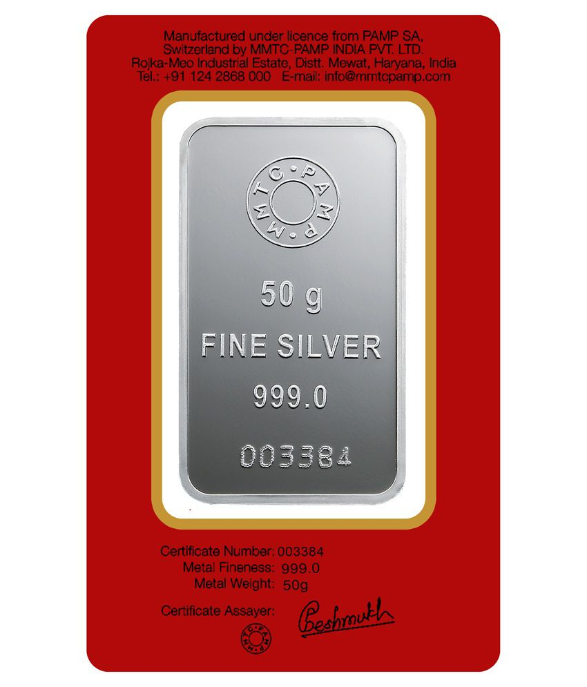 Mmtc Pamp Silver Bar Of 50 Gram In 999 Purity Buy Mmtc Pamp Silver