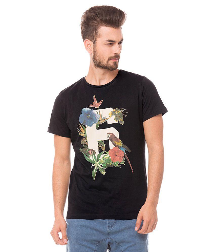Prym Black Round Neck Printed T-Shirt