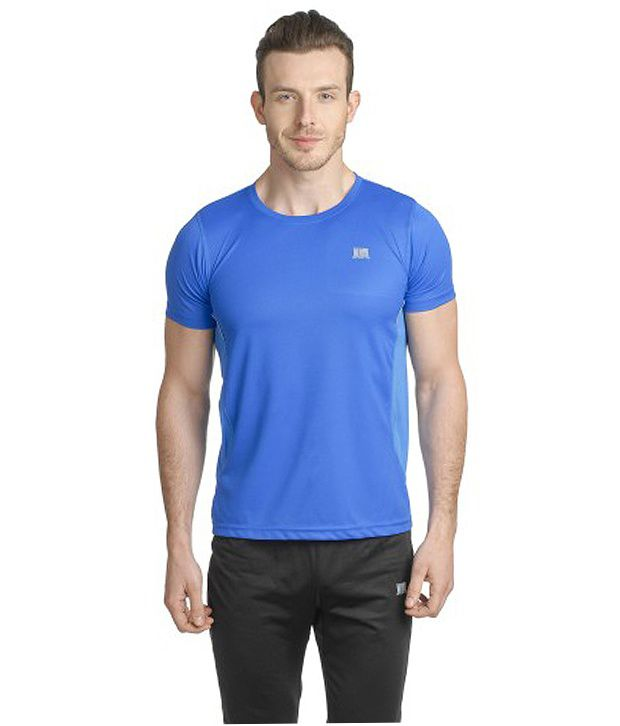 T10 Sports Blue Reflective Micro Fiber Crew Neck T-Shirt