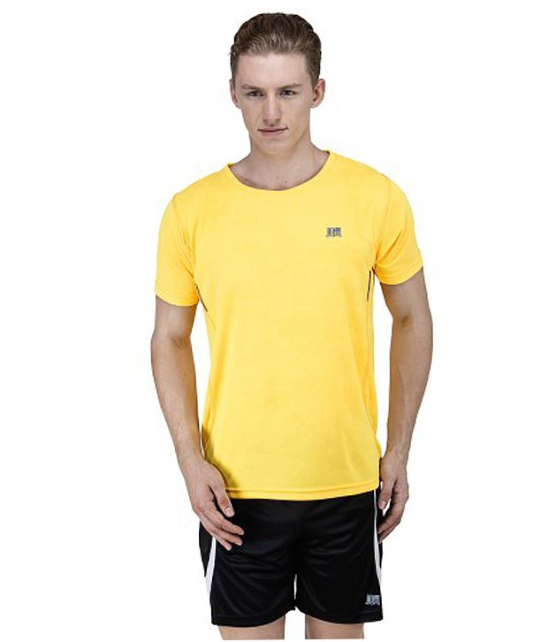 T10 Sports Yellow Reflective Micro Fiber Crew Neck T-Shirt