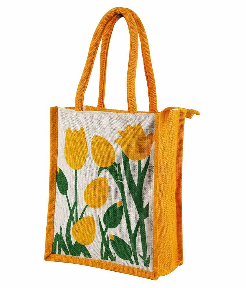 Vakula Exports Yellow and Beige Jute Tote Bag