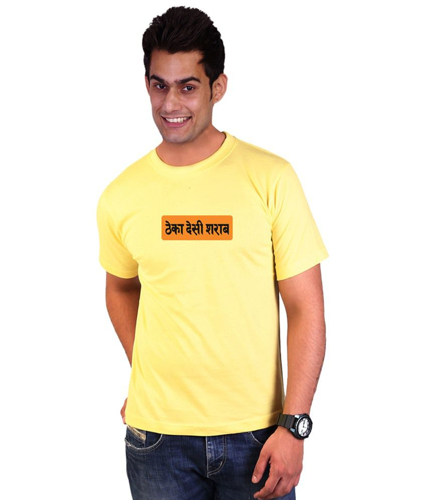 Wicked Bite Design Yellow & Orange Round Neck Printed T Shirt