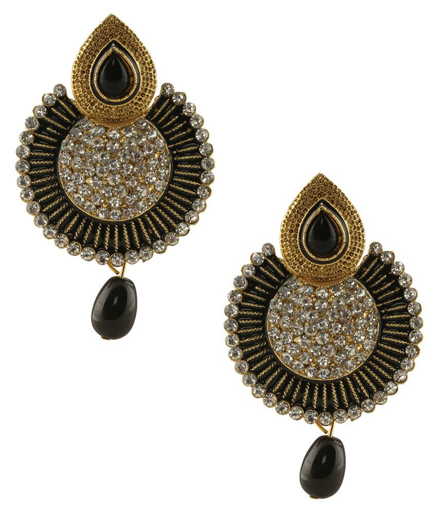 Grand Jewels Black and Golden Alloy Circle of Life Drop Earrings