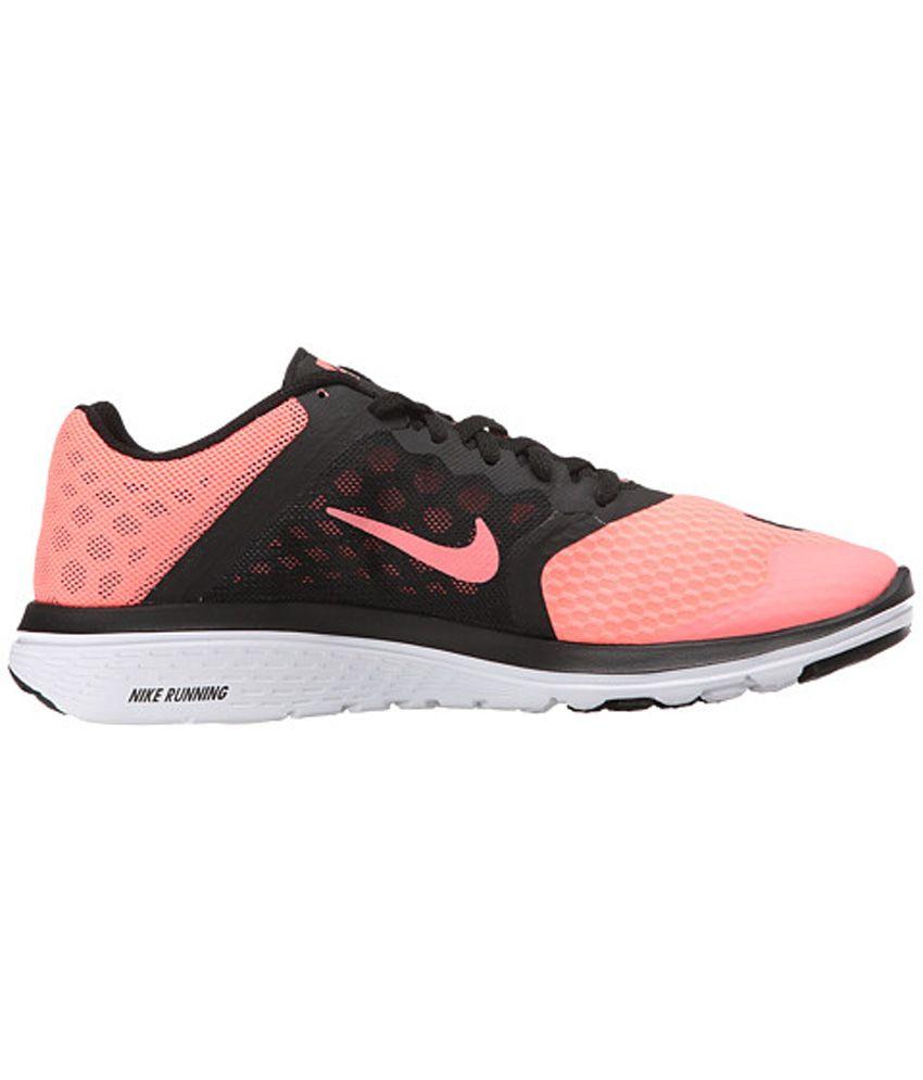 reputable site cbb23 0f3dc Nike Fs Lite Run 3 Black and Pink Sports Shoes
