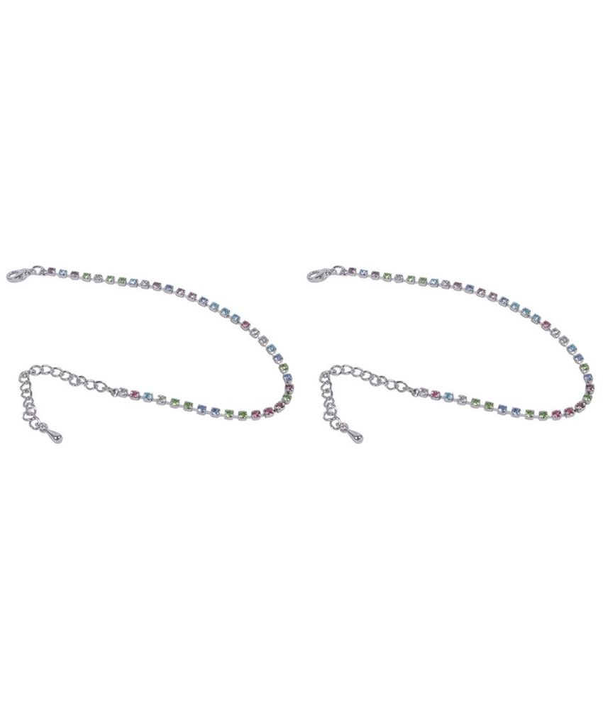 Much More Indian Trendy Style Silver Plated Crystal Made 1 Pair Fashion Anklet For Women Jewelry