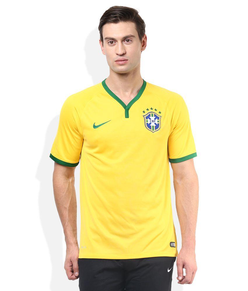 Nike Yellow V-Neck Half Sleeves Basics T-Shirt
