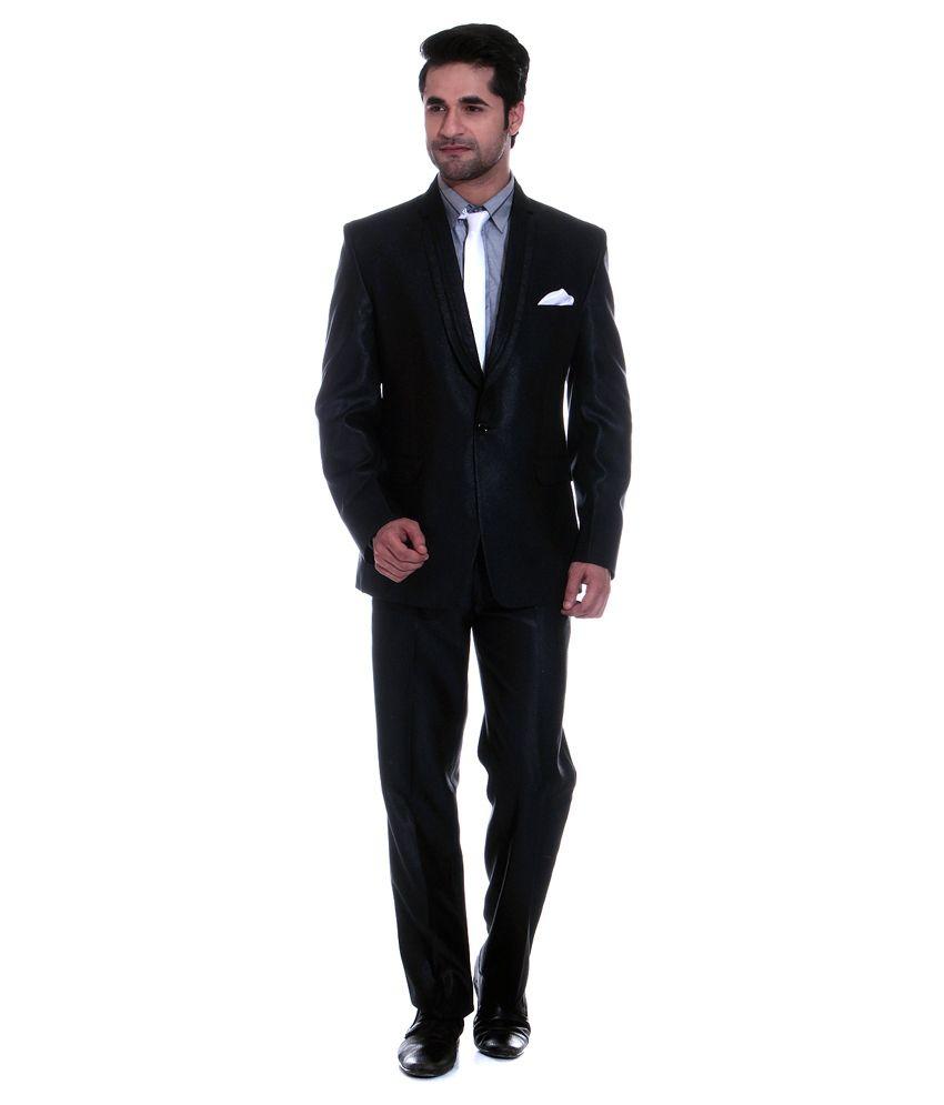 Tag 7 Black Poly Blend Formal Wear 2 Piece Suit