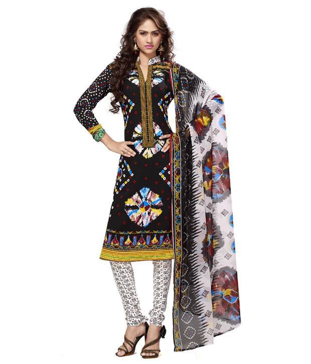 Trendz Apparels Multi Color Art Crepe Unstitched Dress Material