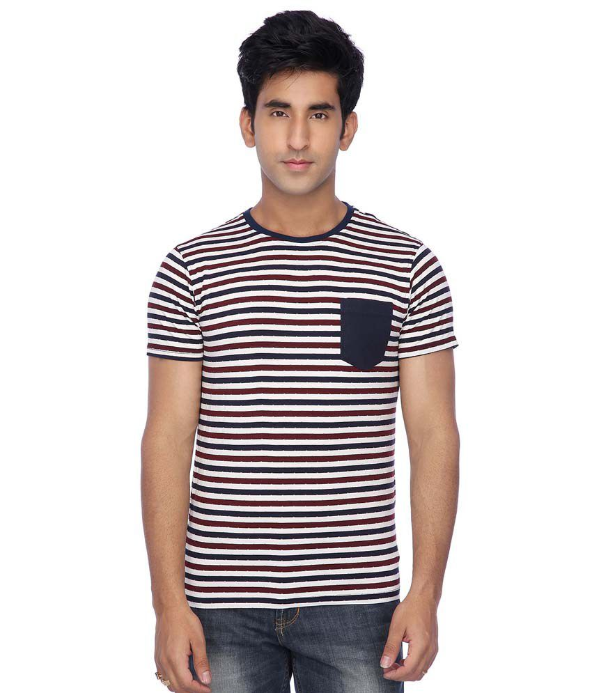 Vettorio Fratini by Shoppers Stop Multi-Coloured Slim Fit Round Neck Striped T-Shirt