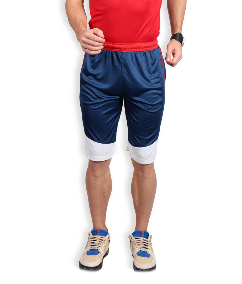 Fitz Blue & White Polyester Solid Shorts