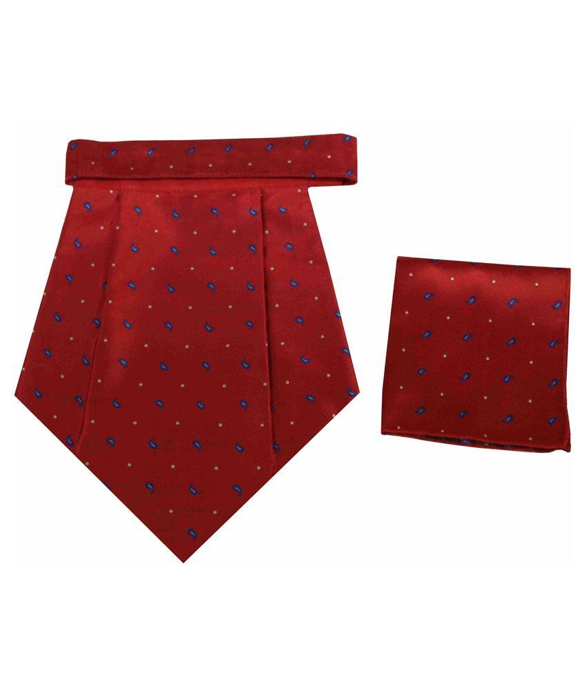 Classique Set of 2 Printed Italian Design Wedding Cravat and Pocket Square - Red