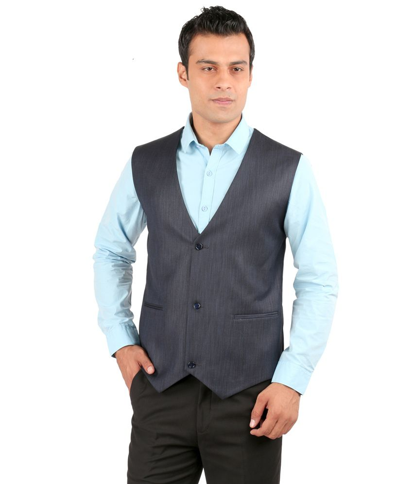 Jhampstead Blue Rayon Waistcoat