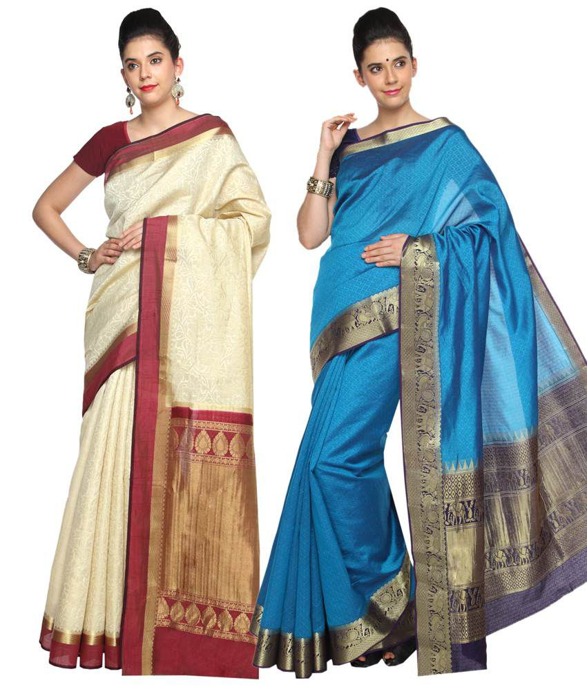 Reet Pack of 2 Beige & Blue Plain Cotton Sarees with Blouse Pieces