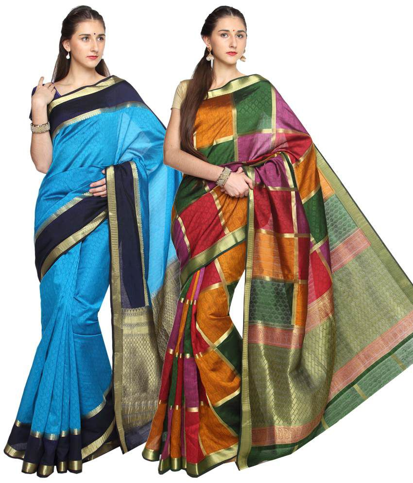Reet Pack of 2 Blue & Yellow Plain Cotton Sarees with Blouse Pieces