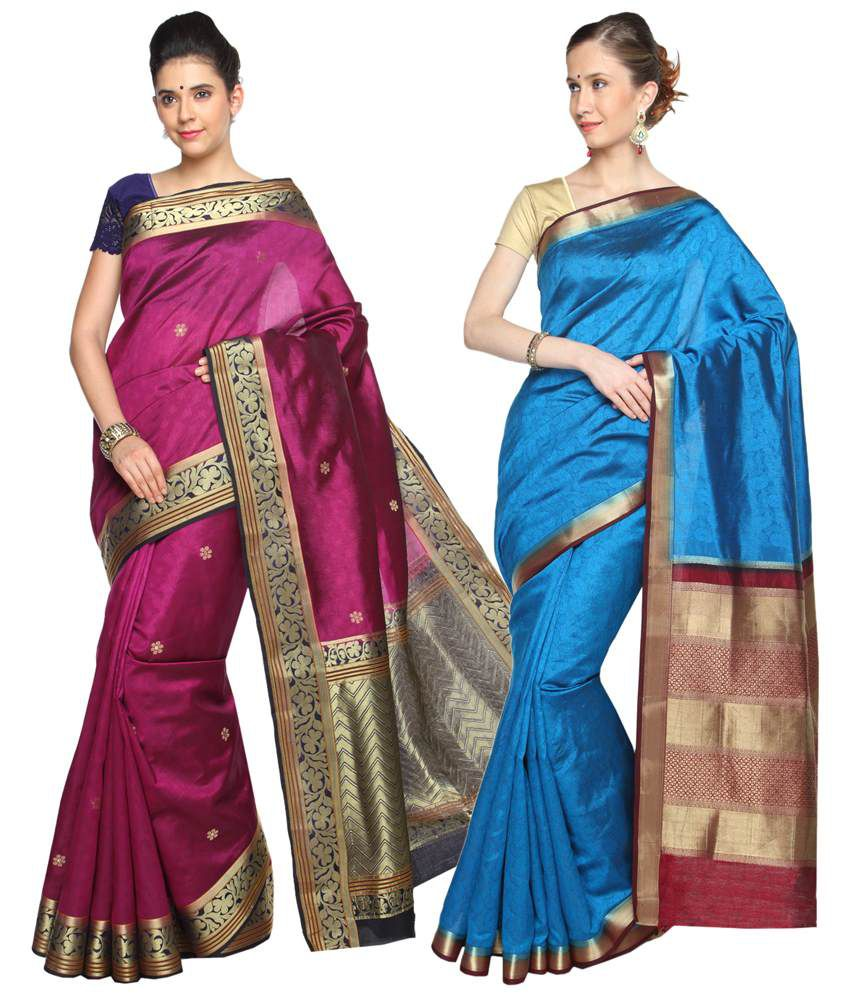 Reet Pack of 2 Pink & Blue Printed Cotton Sarees with Blouse Pieces
