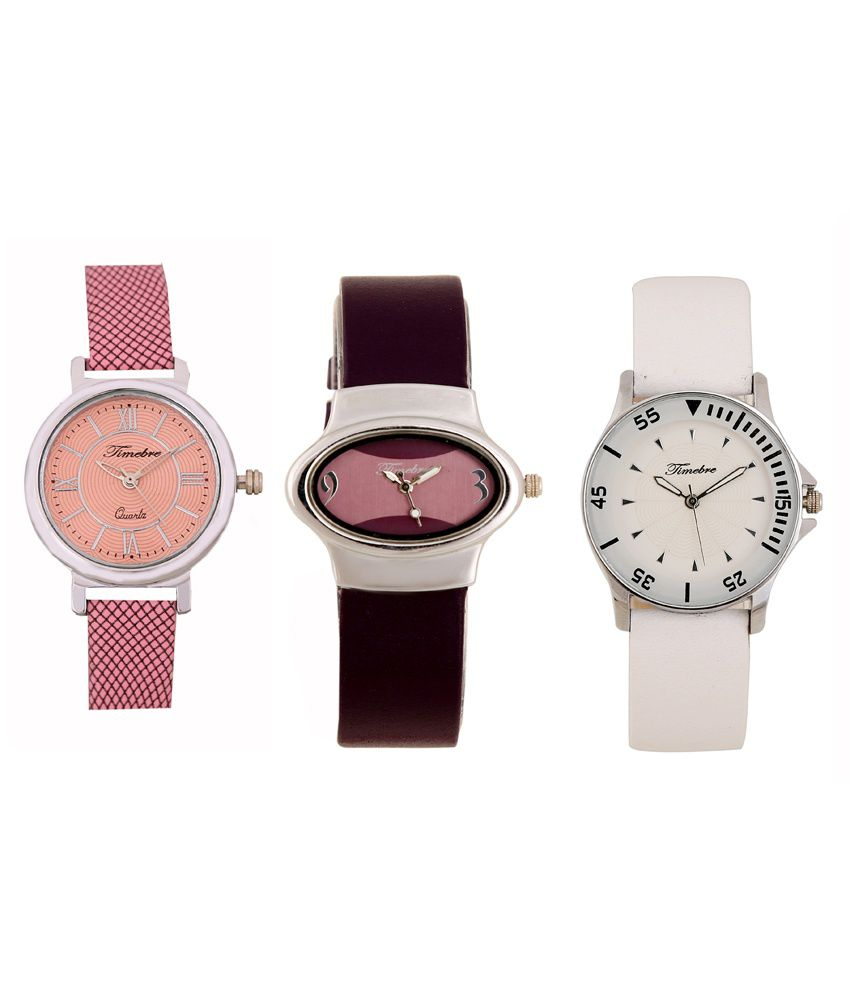 Timebre Analog Round Dial Shape Watch Combo for Women