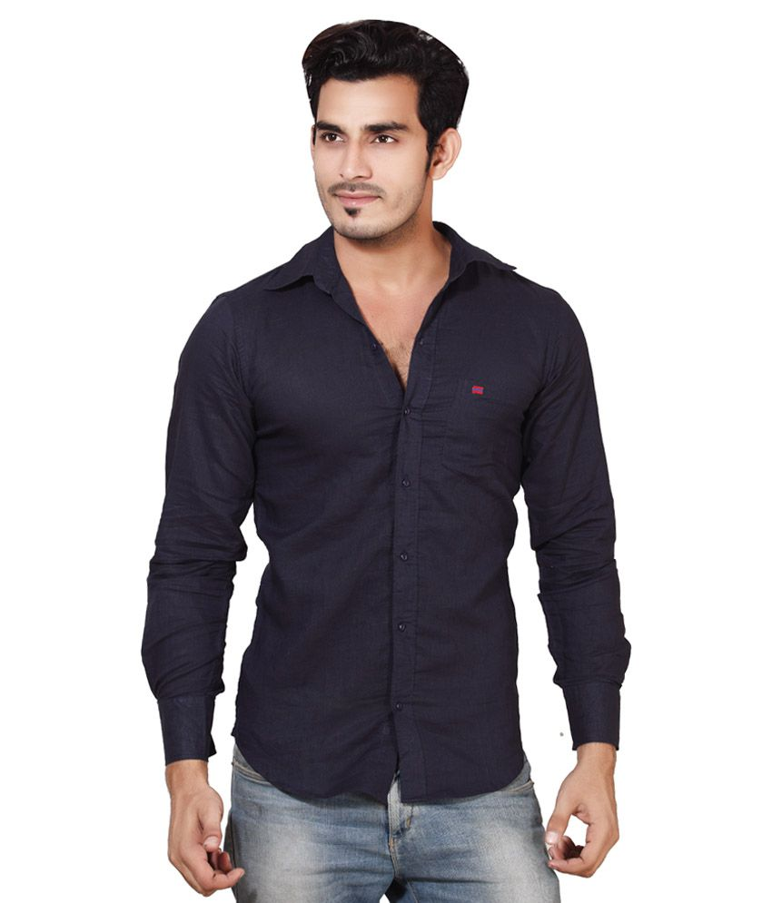 78636d7e36dd Sketch Mens Cotton Linen Navy Blue Casual Shirt - Buy Sketch Mens Cotton  Linen Navy Blue Casual Shirt Online at Best Prices in India on Snapdeal