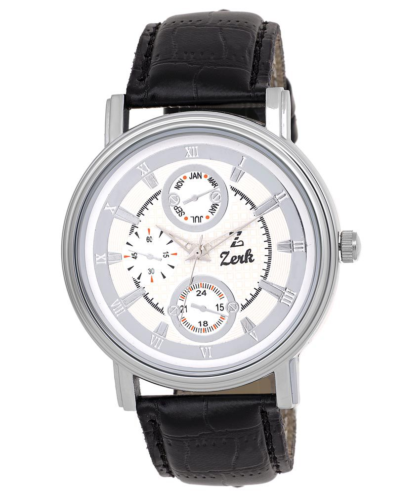 Zerk White Analog Leather Round Watch