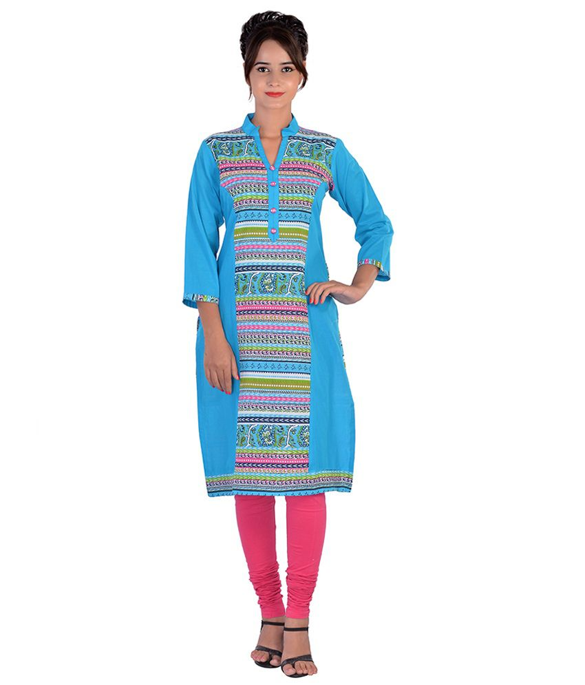 Aavaya Fashion Blue Cotton Kurti