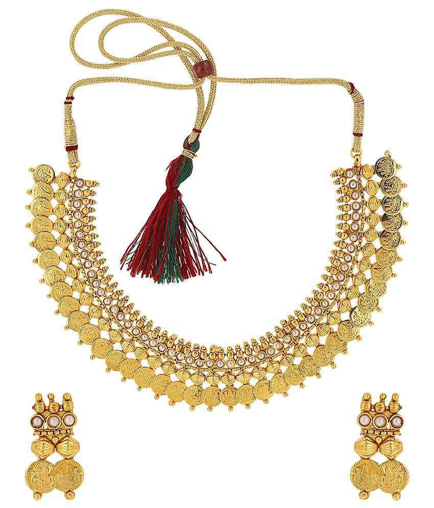 Jewels Galod Golden & White Alloy Necklace Set