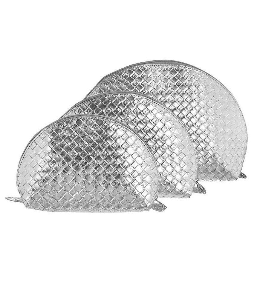 Osaiz Silver Multipurpose Pouches For Women - Set Of 3