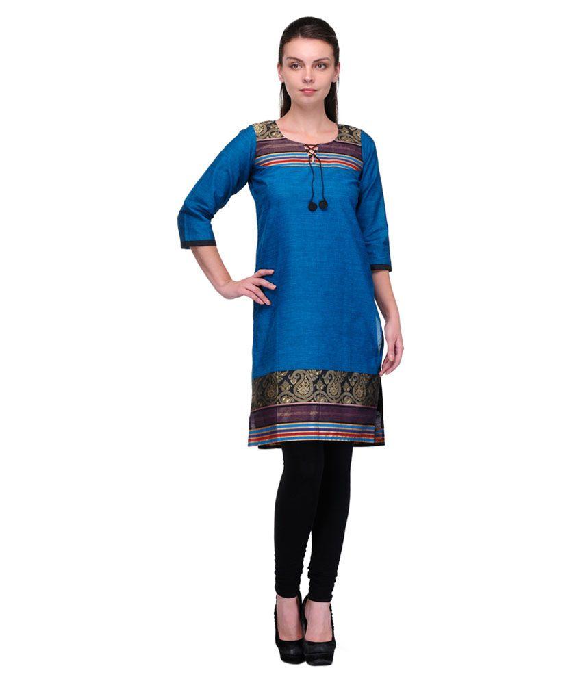 Enchanted Drapes Blue Cotton Kurti