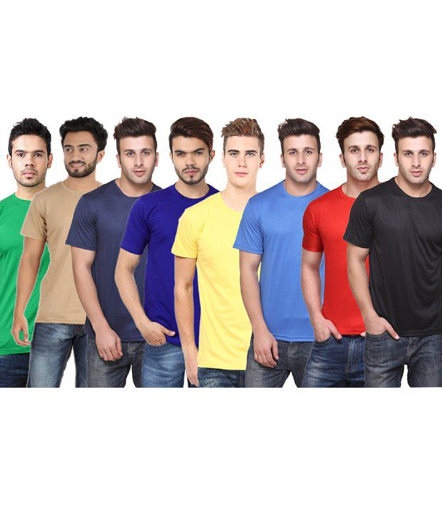 Funky Guys Multicolor Cotton Blend T-shirts Pack Of 8