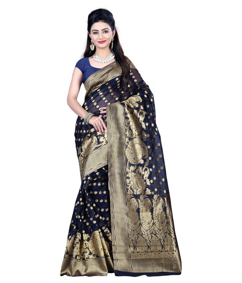Indi Wardrobe Blue Silk Saree