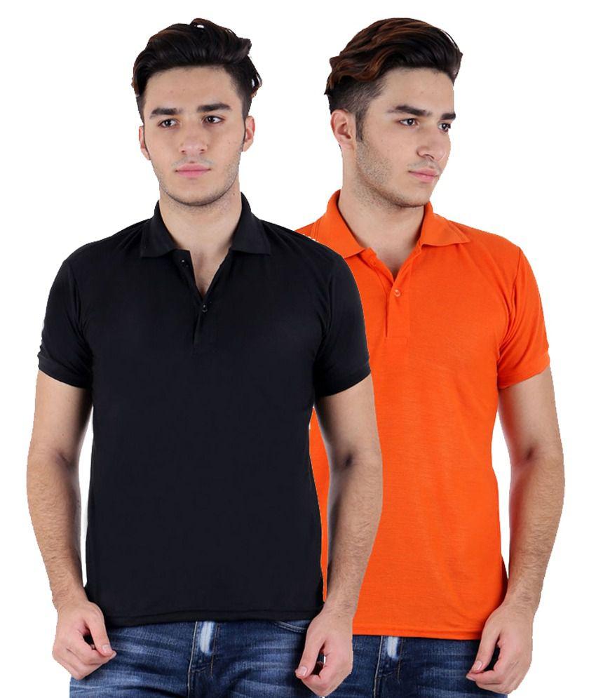 Rakshita's Collection Multicolour Cotton Polo T-Shirt - Set Of 2