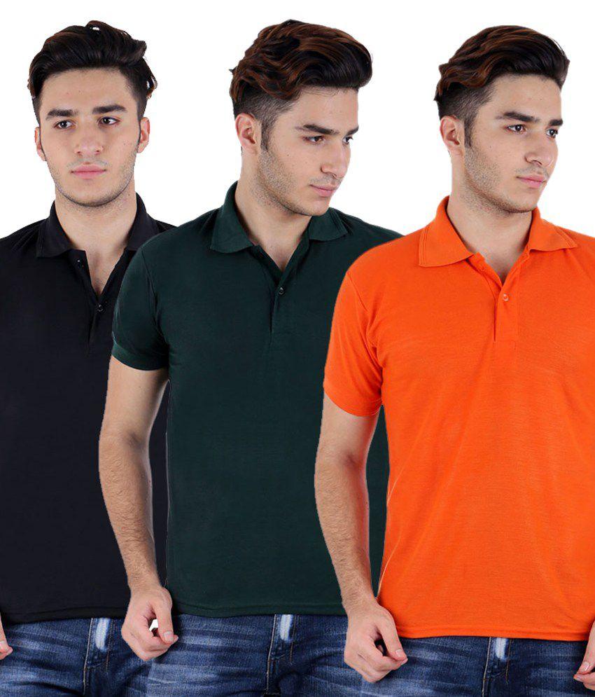 Rakshita's Collection Multicolour Cotton Polo T-Shirt - Set Of 3