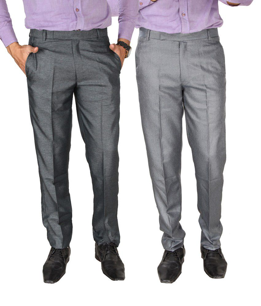 SLS Multicolour Cotton Blend Formal Trouser - Pack Of 2
