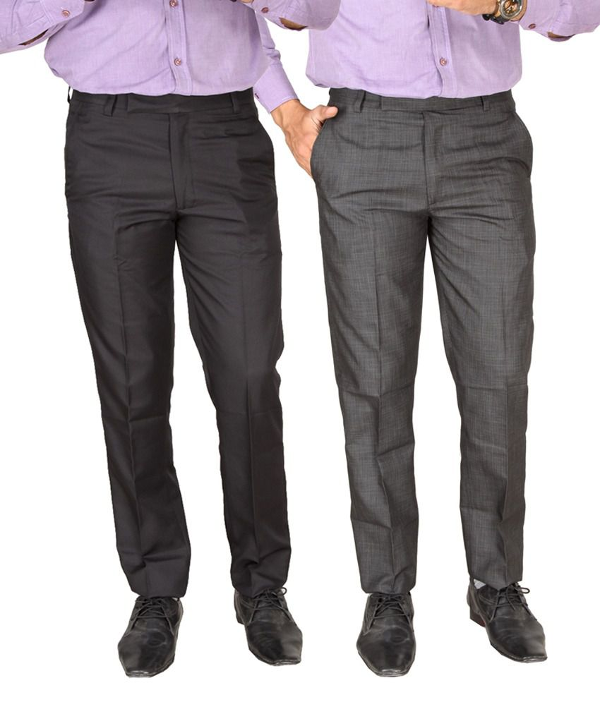SLS Multicolour Cotton Blend Formal Trouser - Pack Of 2