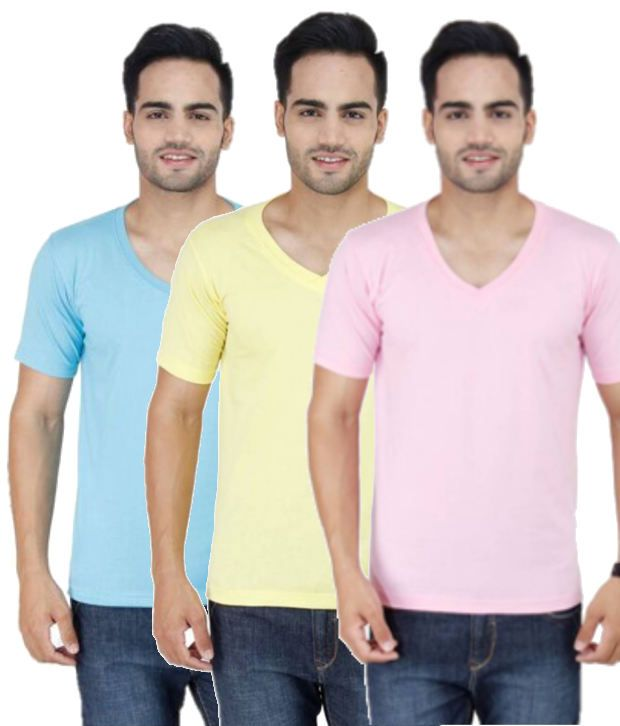 STYLOGUE Combo of Multicoloured Blended Cotton T-shirts (Pack of 3)