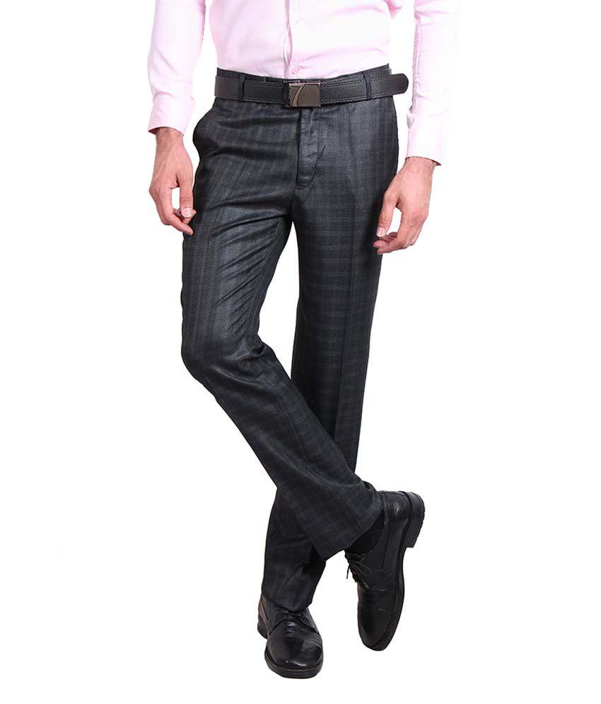 Solemio Black Slim Fit Formal Flat Trouser