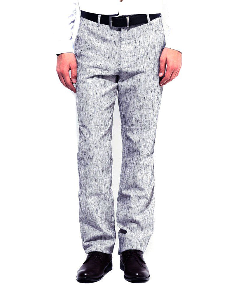 Ad & Av Grey Regular Fit Formal Trouser