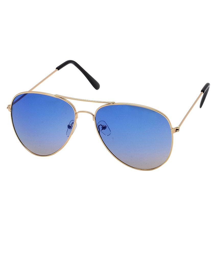 Brandvilla Golden Metal Aviator Sunglasses