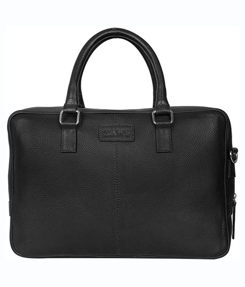 Taws Genuine Leather Black Laptop Bag