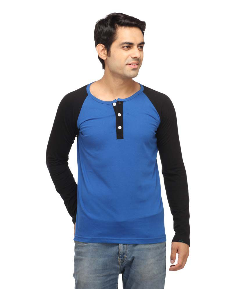 Leana Rblue & Black Henley T-Shirt