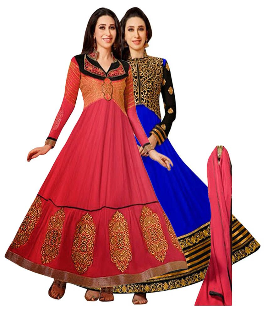 NM Textile Red & Blue Semi Stitched Dress Material (Pack of 2)
