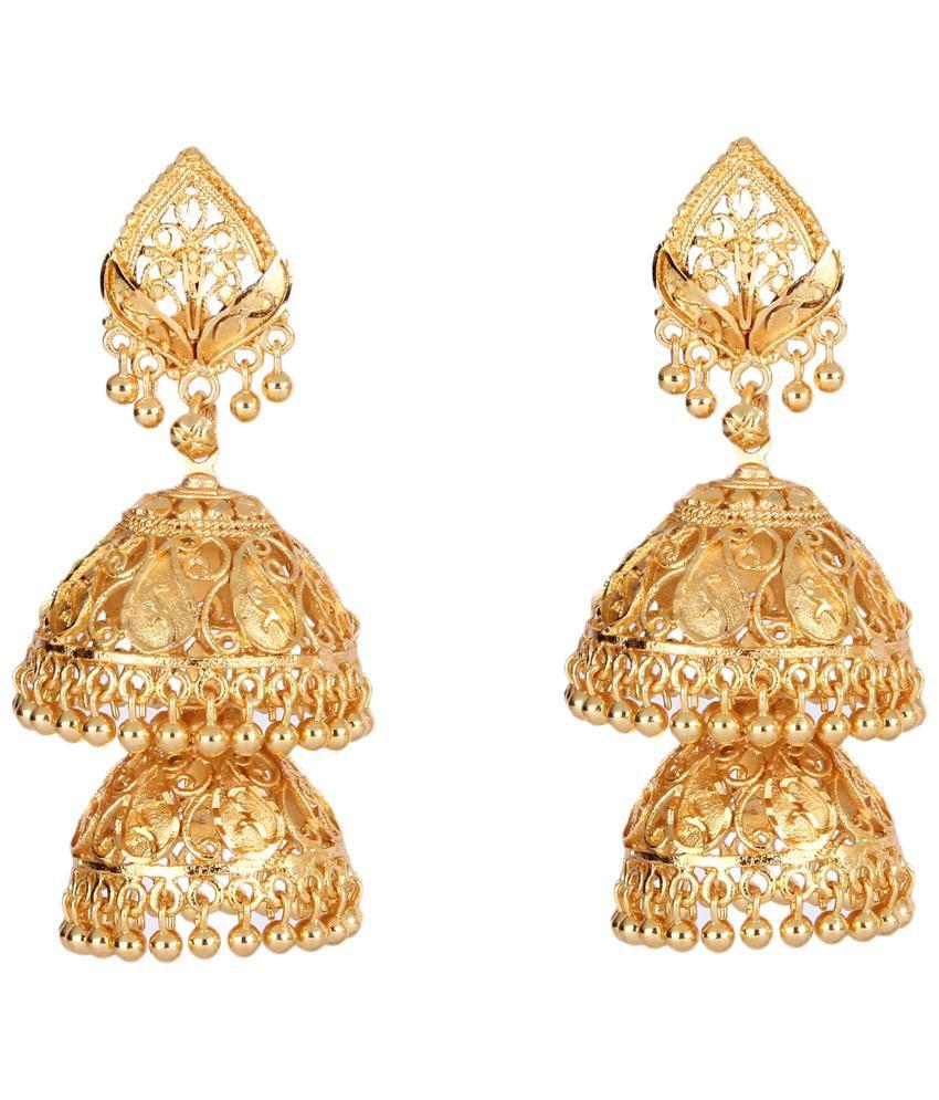 ShinningDiva Golden Jhumki Earrings