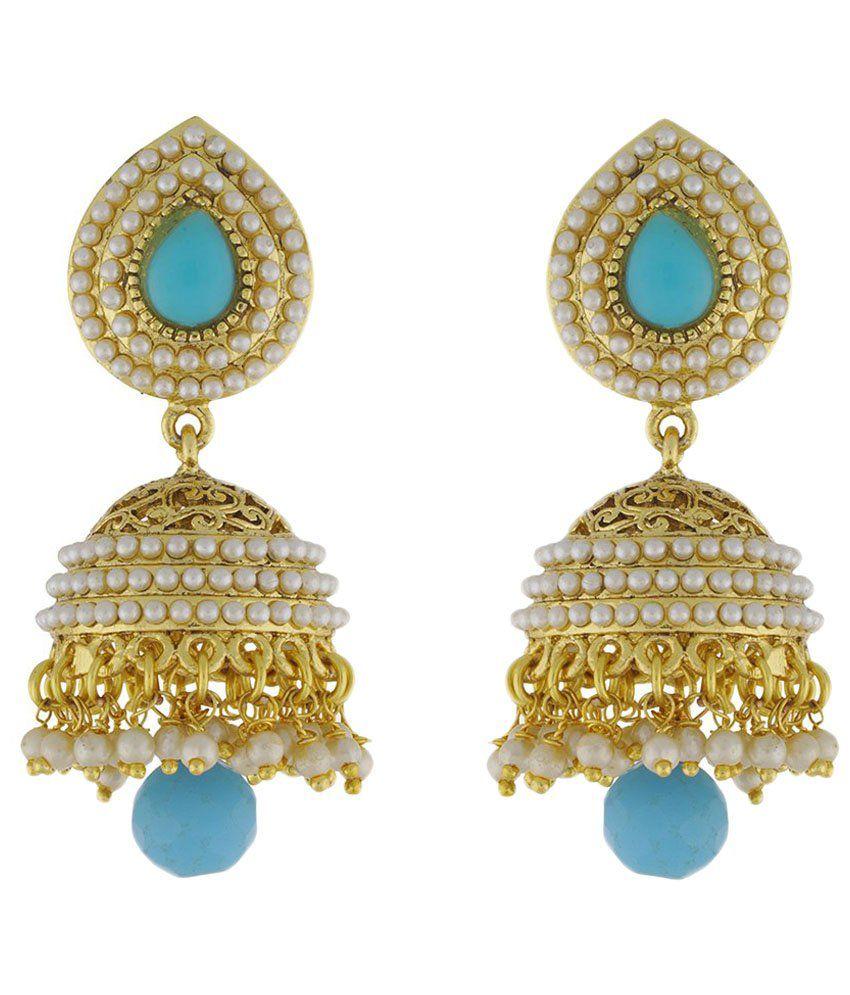 ShinningDiva Golden & White Pearl Jhumki Earrings
