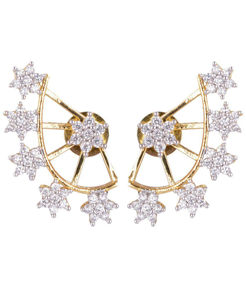 ShinningDiva Silver American Diamond Ear Cuffs