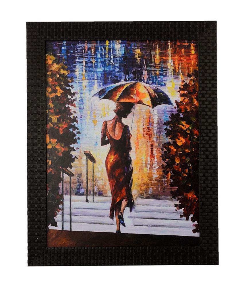eCraftIndia Beautiful Lady Under Umbrella with Satin Matt Texture and Framed UV Art Print